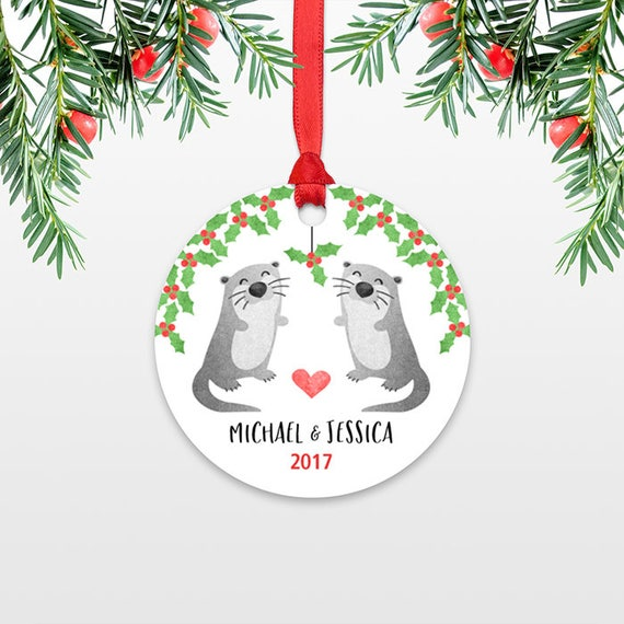 Personalized Christmas Ornaments Otter Couple Wedding Christmas Ornament Engagement Ornament Married Engaged Ornament Christmas Decoration