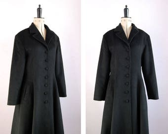 Vintage 1980s 90 Cacharel black camel and wool princess coat - Wool long dress coat - Winter coat - Fit and flare coat - Smart formal coat