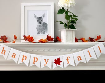 fall banner - fall decorations - thanksgiving decorations - happy fall banner - happy fall