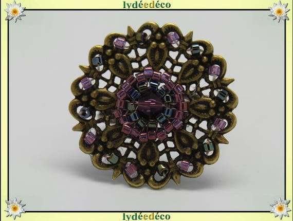 Japanese grey purple glass 25 mm bronze beads charm retro vintage adjustable flower ring