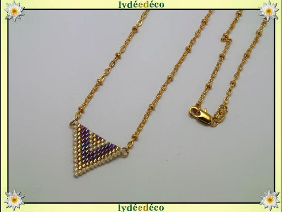 Necklace plated 18 k gold purple beige and gold woven triangle chevron chain ball