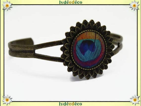 Retro vintage pink yellow turquoise blue Peacock feather resin adjustable round 20mm brass bronze
