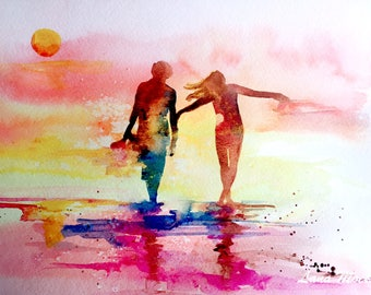 Sunset Lovers Print from Original Watercolor, Travel Illustration, Modern Watercolor Painting, Ocean Bliss, Salty Life, Romantic Decor