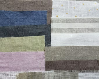 Linen fabric samples , Softened stone washed linen fabric.