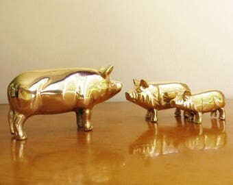 Vintage Brass Pig Figurines, Gold Pig Statues, Hog, Farm Animal Collectible, Pig Paperweight, Pig Family, New in Box, NIB