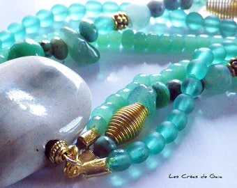 Viridis • ceramic bracelet, gemstone and glass beads • ethnic jewelry