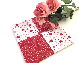 Heart Hot Pad, Red Heart Trivet, Red Mug Rug, Flower Hot Pad, Red and White, Heart Mug Rug, Heart Fabric, Red Heart Mug Rug
