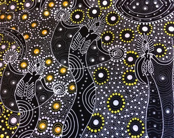 Australian Aboriginal Print Fabric--Dancing Spirit Black--Aboriginal Design--Cotton Quilt Fabric--Australian Fabric by the HALF YARD