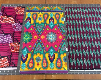 African Wax Print Fabric--REMNANT PIECES--Ankara--Assorted Pinks--Assort Color/Pattern--3 Irregular size pieces--almost 1 yard of fabric
