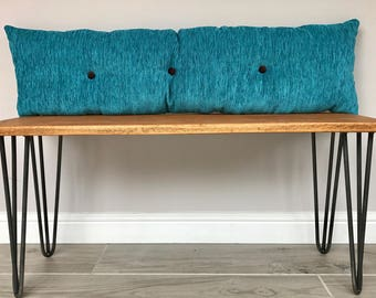 Reclaimed Oak Bench * Side Table* Entry Way Bench* with hairpin legs