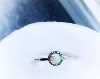 6mm Ethiopian Opal Sterling Silver Ring Size 8