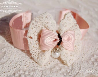 Beautiful Handmade light Orange pink collar for pet, wedding dog collar,Birthday gift, dog fashion,Ivory white lace collar for dog
