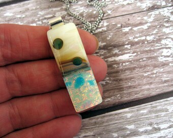 Pink dichroic necklace, Fused glass pendant,Summer statement jewellery NL471, party for her, friend gift, wedding pendant,dichroic pendant