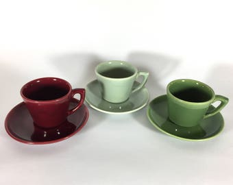 Bauer Pottery Cup and Saucer Set, Monterey Moderne, Maroon, Light and Dark Green, Los Angeles, 1940s- 50s