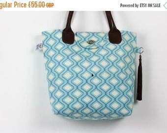 On Sale Large Canvas Tote, Summer tote, Summer bag, Blue and cream tote bag, Large tote, Leather handle bag, Canvas work bag, Canvas holiday