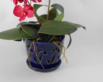 Royal blue orchid pot - orchid cache pot - ceramic orchid pot - orchid planter - orchid pot V170