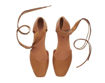 Caramel brown leather ballerina shoes, Ana, handmade flat shoes