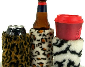 Beverage Insulator #FauxFur #Leopard #Zebra #Cheetah #Eco PocketHuggie-Folds Hot/Cold #Starbucks #WaterBottle #Beer 2 Sizes-CUP & CAN/BOTTLE