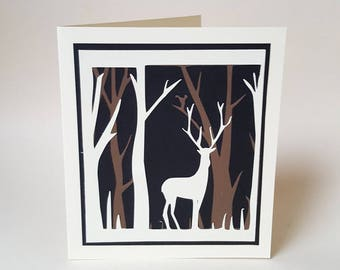 "The card ""Deer in the Woods"""
