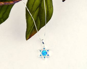 Star of David Sterling and Blue Created Opal Necklace