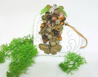 Butterfly beaded keyring gold flower bag charm