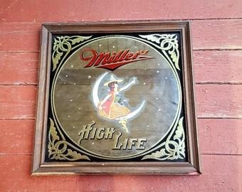 "14"" x 14"" Vintage Miller High Life Bar Mirror"