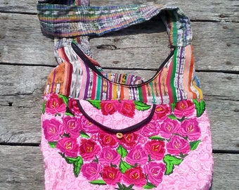"Boho Crossbody Bag VERY COLORFUL Festival Bag 16"" x 12"" Handmade Roses on front Stripes on Back THICK Strap Vintage Purse Cotton Bag"