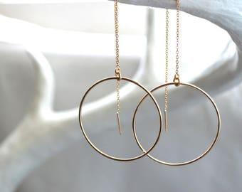 Large Hoop Earrings / hoop threader earrings / threader earrings