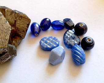 Set of 10 Lampwork Glass and molded glass, India, 8-14mm