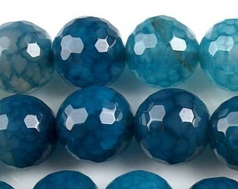 Set of 4 blue agate, 12mm faceted beads
