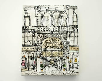 LEEDS ART PRINT, Yorkshire Canvas, County Arcade Leeds, Drypoint Print, Yorkshire Art, Signed Box Canvas, Victoria Quarter, Clare Caulfield
