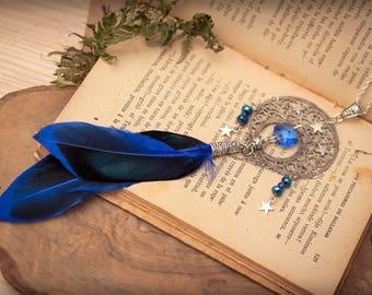 Boho Necklace, Feather Necklace, Dreamcatcher necklace, Fantasy Necklace, Witchy necklace, Blue Feathers, Steampunk Necklace, Wicca Necklace