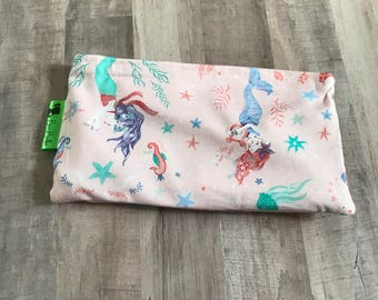 MERMAID SNACK BAG • Reusable Snack Bag • Waterproof Bag • Girl's Snack Bag • Toy Bag • Make-Up Bag • BizyBelle • Back To School