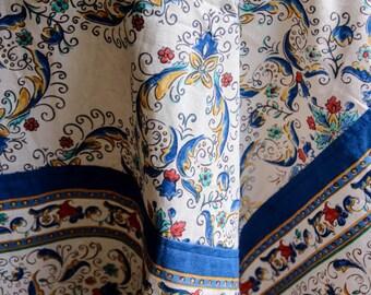 Blue Deruta Look Design Cotton Tablecloth Eco Friendly