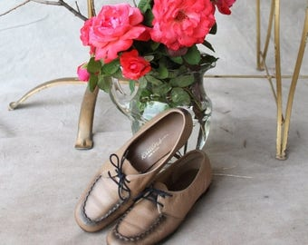 Spectacular Sale 25% off Creamy TaupeTan with Patina Brown  All Leather Loafer Shoe by Paradise Kittens  made in USA
