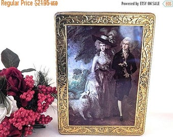Kalar Cookie Tin Gold Metal Covered Box The Morning Walk Portrait by Thomas Gainsborough Vintage Rococo Neoclassic  Lithograph Storage Box