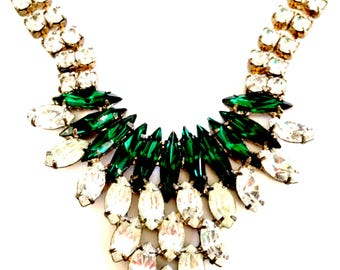 Clear Crystal and Emerald Green Rhinestone Necklace, Wedding, Vintage Bridal, Special Occasion