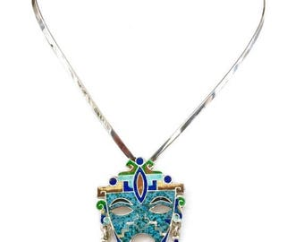 Taxco Sterling Silver Mayan Mask Brooch Pendant, Aztec Mayan Design, Intricate Enamel Work, Sterling Silver Collar, Hand Crafted, Hallmarked