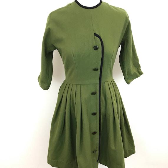 1950s wool dress green botany wool dolman sleeve winter frock khaki fern fit flared skirt peter kay UK 10 holes damage