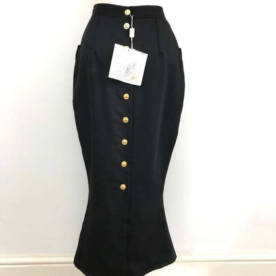 "Vintage Versace skirt vampy hourglass designer Versus fishtail black gothic 27"" waist UK 12 macabre lion gold button back"