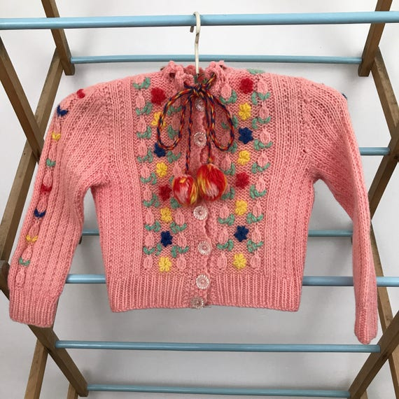 RESERVED Vintage 1940s knitwear 40s kids cardigan handknit sweater hand knitted peach cardi traditional 50s age 2 years