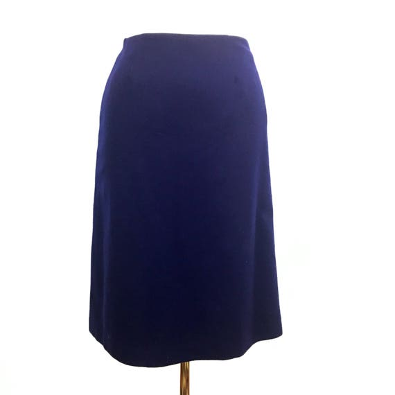 """Vintage skirt navy blue Pringle straight skirt wool UK 12 14 high waisted 28"""" 50s style Twin Peaks separates 1950s classic winter"""