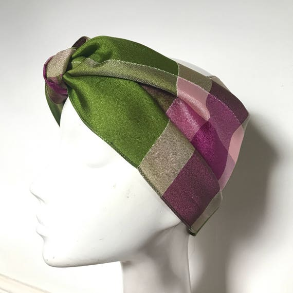 1940s scarf checkered satin magenta pink green check neck tie evening scarf 40s silky fringed 30s