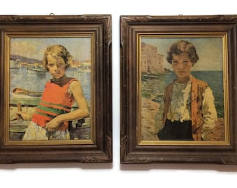 Vintage Brother and Sister Lithographs wood frames, boy and girl prints, vintage wall art