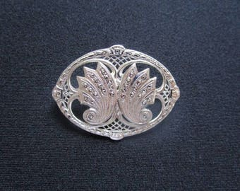 Lovely Sterling Silver Art Deco Revival Jewelry Ornate Filigree Brooch Pin W/Sparkle Cluster Hematite Stones Excellent Quality Vintage Piece