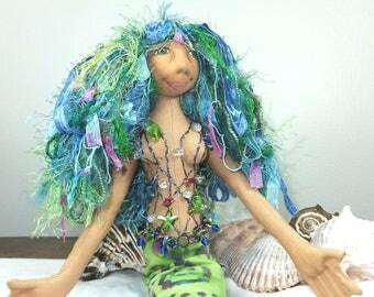 Art Doll-Clary the Mermaid OOAK Cloth Doll