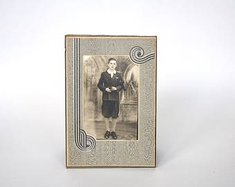 Antique Cabinet Card Photo - Vintage Photography Decor - Antique Photograph Boy Knickers - Mourning Armband Photograph - First Communion