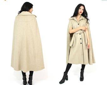 50% OFF Vtg 60s Union-Made Beige Wool Cape One Size Fits Most - Mod Avant Garde Cloak