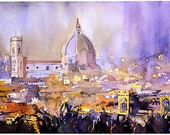 """5x7"""" watercolor print of Duomo in Florence, Italy."""
