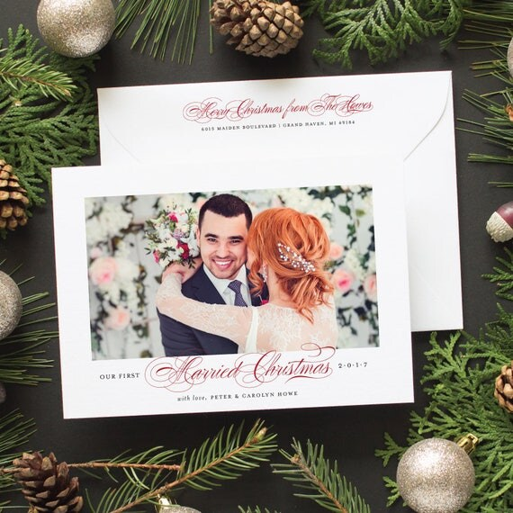 Newlywed Christmas Card, Wedding Announcement Photo Holiday Card, First Christmas Holiday Photo Cards - Just Married Christmas